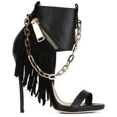 Dsquared2 fringed sandals ($1,030) ❤ liked on Polyvore featuring shoes, sandals, heels, black shoes, footwear, black, leather shoes, black stilettos, heels stilettos and open toe sandals