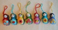 Handmade Christmas: Matryoshka, baboushka, or kokeshi ornaments or necklace