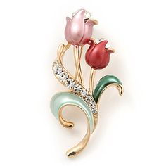 Pink Enamel Diamante Tulip Brooch In Gold Finish  5cm Length *** Visit the image link more details.