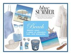 """""""BLUE SUMMER"""" by pauirjules ❤ liked on Polyvore featuring J.Crew, Vera Bradley, Frame Denim, Courtside Market, Nine West, SONOMA Goods for Life, Tory Burch, Bling Jewelry, OPI and Apt. 9"""