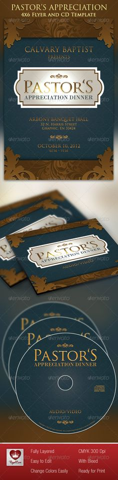 Pastor's Appreciation Dinner Church Flyer and CD - $6.00