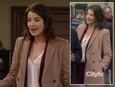 Robin's white blouse, burgundy pants suit and long beige coat Long Beige Coat, Robin Scherbatsky, Burgundy Pants, How I Met Your Mother, Professional Look, I Meet You, Pants For Women, Style Inspiration, Suits