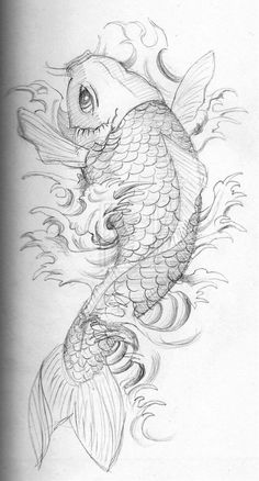 110 Best Japanese Koi Fish Tattoo Designs and Drawings - Piercings . Japanese Dragon Koi Fish Tattoo Designs, Drawings and Outlines. The inspirational best red and blue koi tattoos for on your sleeve, arm or thigh. Japanese Koi Fish Tattoo, Koi Fish Drawing, Fish Drawings, Art Drawings, Japanese Tattoos, Pencil Drawings, Japanese Drawings, Japanese Tattoo Designs, Animal Drawings
