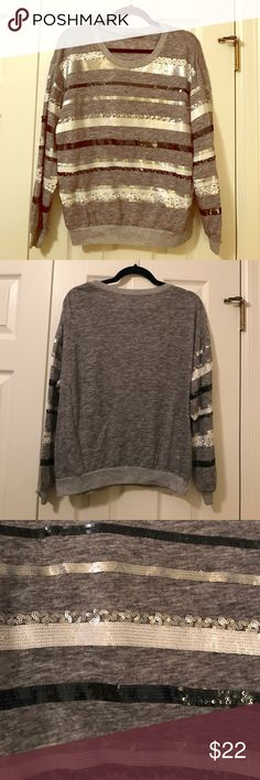 Sequin Striped Sweater Gray sweater with white, silver and black Sequin stripes. Aryn K Sweaters