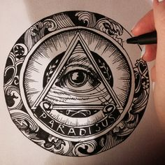 All seeing eye, hand drawing
