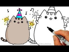How to Draw Pusheen Cat for New Years Celebration step by step Easy - YouTube