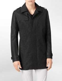 ck one body slim fit mixed texture coated cottton trench coat - Jackets + Outerwear- Calvin Klein