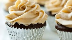 Blogger Angie McGowan of  Eclectic Recipes boosts the flavor of already delicious devil's food cupcakes by adding beer to the batter and Irish cream liqueur to the frosting.