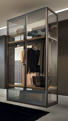 Poliform modern wardrobe collection claims prominence in the night area. Italian furniture design in modern and contemporary style. Glass Wardrobe, Wardrobe Door Designs, Wardrobe Closet, Built In Wardrobe, Closet Designs, Walk In Closet Design, Bedroom Closet Design, Home Room Design, Closet Storage Systems