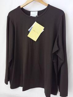 Susan Graver Brown Liquid Knit Top Long Sleeve Size 2X QVC #SusanGraver #LiquidKnitTop #Casual