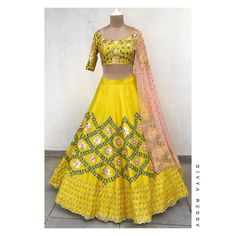 Back to Diavya fav line of sunny yellows.Well cant help feel the summer round the corner!Beautiful yellow color lehenga and blouse ith blush pink color net dupatta. 02 March 2018