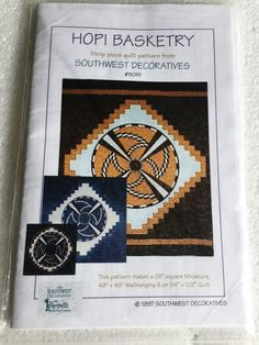 Hopi Basketry Southwest Strip Piece Quilt Sewing by Vntgfindz