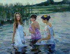 """The Little Mermaids"" by Vladimir Gusev, oil on canvas, 70x90 cm."