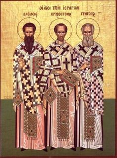 Synaxis of the Three Hierarchs; January The three hierarchs = Basil the Great, Gregory the Theologian, and John Chrysostom. All three men are fathers of the church; they are highly revered in the Orthodox Church and symbolize Orthodoxy.