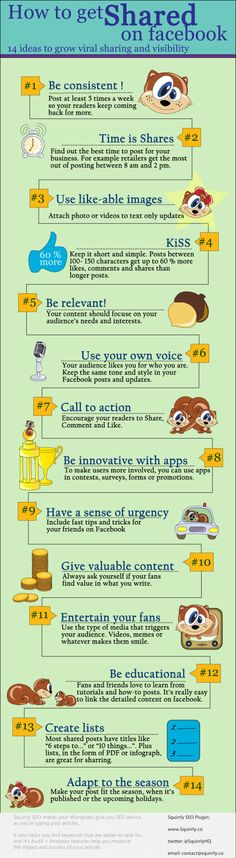 Facebook Marketing: Tips On How To Get Shared - Infographic