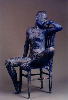 """Blue - woman - """"Blue"""" - Sculpture (1990) - C. A. Michel Figurative Life-size  -: Plaster-gauze and acrylic paint"""