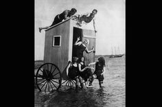 The History of the Bikini        Next      Back      2 of 14  Bikini Bathing  A dressing room on wheels was considered essential for preparing for a swim at Europe's beaches in the 1890s. Ladies would sew weights into the hems of their garments to prevent them from riding up and showing their legs.