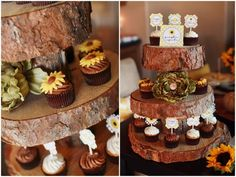 love the slices of tree for serving platters, so cute for a woodland creatures party!
