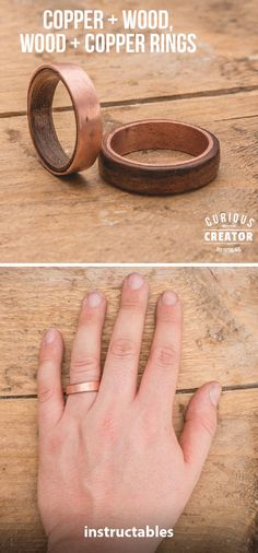 Copper + Wood Rings  #woodworking #metalworking #jewelry