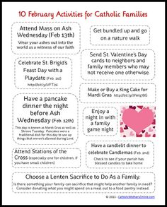 10 Activities for Catholic Families in February
