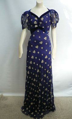 vintage 1930s blue silk chiffon floral print gown/ 30s dinner dress/ art deco evening gown/ hollywood glamour evening dress