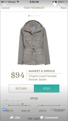 Would Like this jacket in maybe a different color like Navy or olive