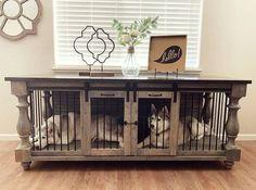 Custom Dog Kennel, Diy Dog Kennel, Metal Dog Kennel, Wooden Dog Kennels, Kennel Ideas, Solid Wood Furniture, Custom Furniture, Furniture Design, Crate Furniture