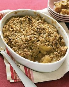 Apple Crisp- sub Pamela's to make it GF. Omit sugar in filling and reduce to two tablespoons in crumble and it is still delicious!
