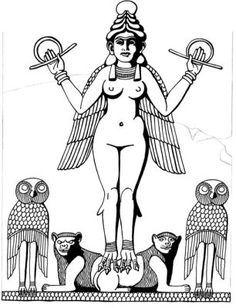 Inanna, Terracotta relief between 2300 and 200 BCE. coloring page
