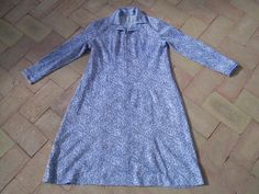 60s / 70s A line French Dress BLUE and  WHITE design by csclothes