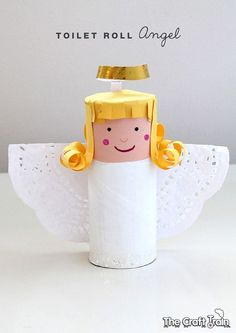 Toilet roll angel kids Christmas craft - could make a whole Nativity scene using the same techniques! Christmas Activities, Christmas Crafts For Kids, Holiday Crafts, Christmas Decorations, Birthday Decorations, Toilet Roll Craft, Toilet Paper Roll Crafts, Upcycled Crafts, Christmas Angels