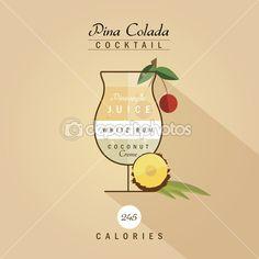 Pina colada cocktail recipe — Stock Illustration #72573529