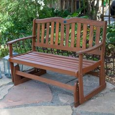 4-Ft Outdoor Loveseat Garden Bench Glider with Armrests in Natural Wood Finish - Quality House