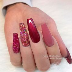 25 Fun Designs For Cute Nails That Will Make You Flip! Long Burgundy Nails With Glitter Milky Way Nails ★ Here are 19 ideas for really cute nails you will love! There are a ton of nail art designs out there, so how do you know which one is best for you? Best Acrylic Nails, Acrylic Nail Designs, Nail Art Designs, Nails Design, Coffin Nails Long, Long Nails, Coffin Nails Glitter, Glitter Nail Art, Stiletto Nails