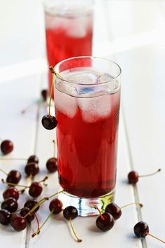 Visináda, is a Greek beverage made with the juice of sour cherries and sugar, cooked until it's concentrated. Served with club soda or water and ice.