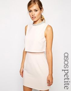 Enlarge ASOS PETITE Dress with Embellished Collar Stand Abito Color Carne 0551ea50212