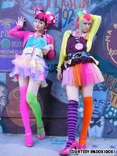 Harajuku.....Every Sunday, young people dressed in gothic lolita, visual kei, decora, and  cosplayers spend the day in Harajuku. The fashion styles are usually a mesh of many. Most young people gather on Jingu Bridge,that connects Harajuku to the neighboring Meiji Shrine area.