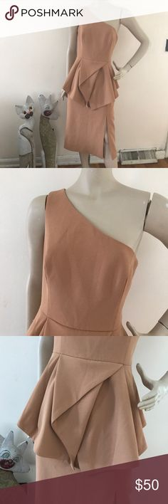 """NWT C/meo Collective Flawless Midi Peplum Dress L C/Meo Collective Tan 100% polyester crepe Fully lined, back zipper closure New with tags Size L Please refer to the measurements for a perfect fit  Bust 38"""" Waist 30"""" Hips 41"""" Length 45"""" C/MEO Collective Dresses One Shoulder"""