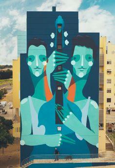 'Double Double Bass', Street Art by Zësar Bahamonte, located in Lisbon, Portugal