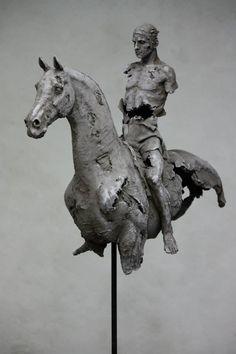 Sculpture Christophe Charbonnel, Cavalier III et Cavalier IV originaux terre cuite 2010 -