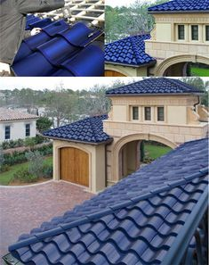 normalmente el techo es rojo, pero en este caso el techo tiene paneles del sol