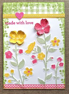 Wildflower Meadow card, by Petite Fleur Paperie Homemade Birthday Cards, Homemade Cards, Flower Stamp, Flower Cards, Scrapbooking, Scrapbook Cards, Wild Flower Meadow, Handmade Card Making, Cardmaking And Papercraft