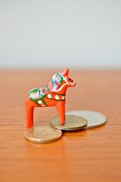 Micro Mini Swedish Wooden Dala Horse Folk Art by ScissorsAndSpice, $12.00