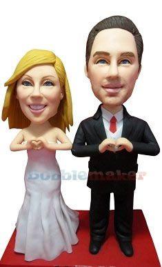 9f32333ec98 Wedding Couple With Heart Shaped Hands Custom bobblehead Doll