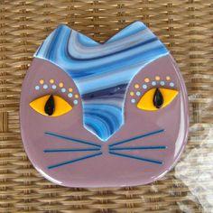 Purple Cat Face Fused Glass Wall Art Fused Glass Cat door GlassCat, $35.00