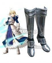 Fate Stay Night Fate Zero Saber Altria Pendragon King Arthur Silver Cosplay Boots