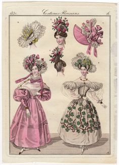 1831 Victorian fashion print, Color engraving Costumes Parisiens via Etsy