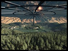 (Not real, but the future?) - Moon Colony Forest under a huge dome by ArthurBlue. Fantasy City, Sci Fi Fantasy, Fantasy World, Space Fantasy, Futuristic City, Futuristic Architecture, Science Fiction Kunst, Space Opera, Space City