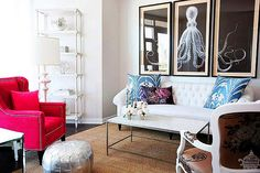 Love this room.  Colors, pouf, octopus triptych.