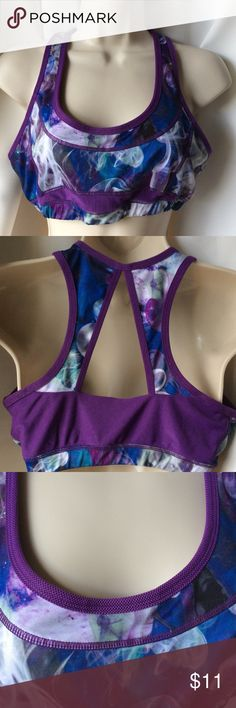 Kyodan nylon spandex sports bra Sz L NEW NEW Kyodan nylon spandex sports bra in purple & blue, size Large. It is not made with removable bra cups. Retails $22 Kyodan Other